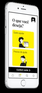 Celular com tela inicial do aplicativo Nós