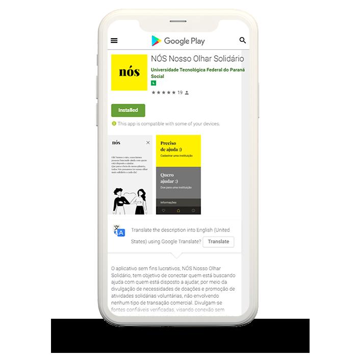 Tela de celular com página da Google PLay Store aberta